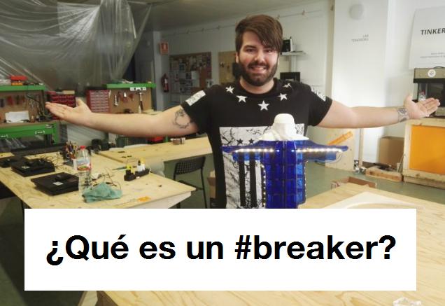 """Jóven mostrando su proyecto final junto con el título """"¿Qué es un #breaker?"""""""