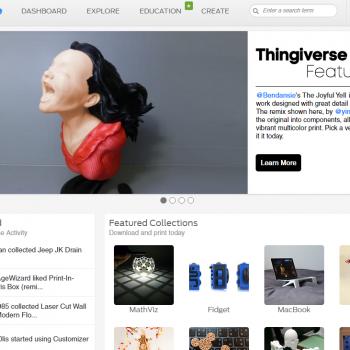 página de inicio del portal Thingiverse