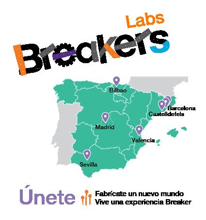 Logo Breakerslab y mapa ciudades que ofrecen el program Breakers